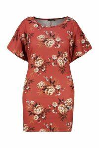 Womens Plus Floral Ruffle Tie Waist Shift Dress - orange - 20, Orange