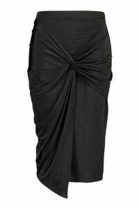 Womens Plus Disco Slinky Knot Front Detail Midi Skirt - black - 20, Black