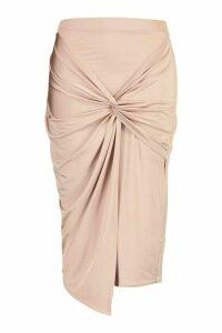 Womens Plus Disco Slinky Knot Front Detail Midi Skirt - beige - 24, Beige