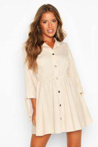 Womens Petite Button Through Smock Dress - beige - 10, Beige