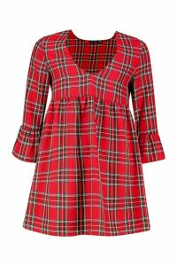 Womens Petite Tartan Frill Sleeve Smock Dress - red - 12, Red