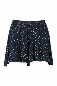 Womens Plus Star Print Floaty Shorts - navy - 20, Navy