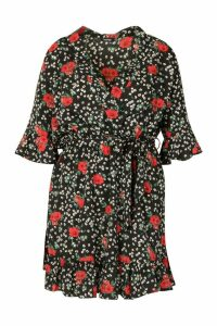 Womens Plus Floral Wrap Ruffle Skater Dress - black - 20, Black