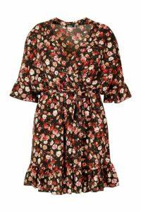 Womens Plus Floral Ruffle Wrap Skater Dress - black - 28, Black