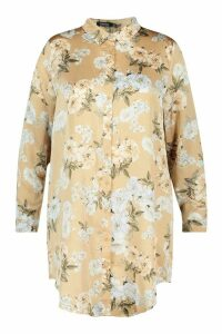 Womens Plus Floral Oversized Shirt Dress - beige - 24, Beige