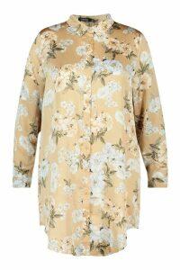 Womens Plus Floral Oversized Shirt Dress - beige - 20, Beige