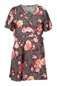 Womens Plus Floral Spot Wrap Dress With Angel Sleeve - black - 20, Black