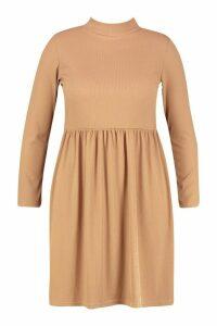 Womens Plus High Neck Rib Long Sleeve Smock Dress - beige - 18, Beige