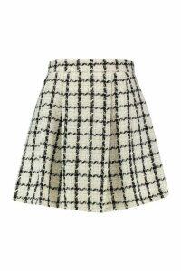 Womens Plus Double Check Pleated Mini Skirt - white - 20, White