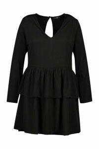 Womens Plus Plunge Double Ruffle Smock Dress - black - 24, Black