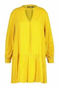 Womens Plus Stripe Tie Neck Tiered Smock Dress - yellow - 16, Yellow