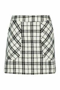 Womens Petite Boucle Check Pocket Mini Skirt - white - 14, White