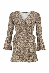 Womens Petite Leopard Print Wrap Skater Dress - brown - 14, Brown