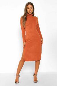 Womens Petite Rib Roll Neck Split Hem Midi Dress - orange - 14, Orange