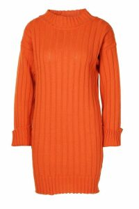 Womens Petite Rib Knit roll/polo neck Jumper Dress - Red - M, Red