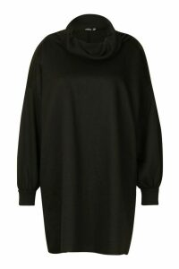 Womens Plus Slouched Roll Neck Oversized Sweat Dress - black - 18, Black