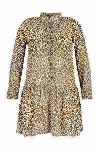 Womens Plus Leopard Print Woven Smock Dress - brown - 20, Brown