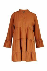 Womens Plus Tiered Longsleeve Smco Dress - orange - 16, Orange
