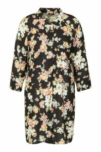 Womens Plus Dark Floral Shirt Dress - black - 20, Black