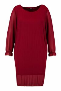Womens Plus Pleated Swing Dress - red - 18, Red
