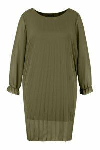Womens Plus Pleated Swing Dress - green - 18, Green