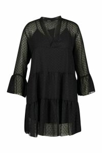 Womens Plus Dobby Mesh 2 in 1 Smock Dress - black - 20, Black