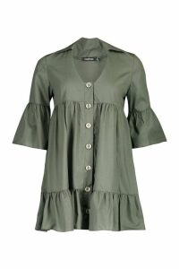Womens Petite Button Up Frill Hem Smock Dress - green - 12, Green