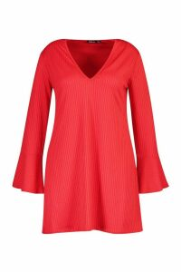 Womens Plus Jumbo Rib Deep Plunge Ruffle Shift Dress - red - 20, Red
