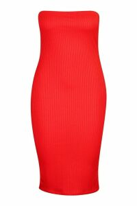 Womens Plus Jumbo Rib Bandeau Midi Dress - red - 20, Red