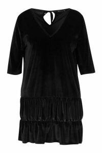 Womens Plus Velvet Tiered Smock Dress - black - 18, Black