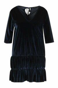 Womens Plus Velvet Tiered Smock Dress - navy - 20, Navy