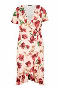Womens Plus Floral Ruffle Wrap Midi Dress - pink - 26, Pink
