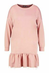 Womens Plus Drop Hem Ruffle Sweat Dress - pink - 18, Pink