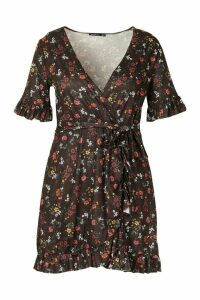 Womens Plus Floral Ruffle Tie Waist Wrap Skater Dress - black - 20, Black