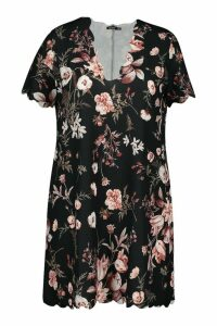 Womens Plus Scallop Edge Floral Shift Dress - black - 16, Black