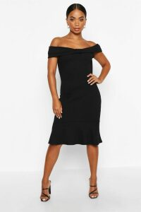 Womens Petite Bow Detail Peplum Hem Dress - black - 14, Black