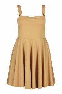 Womens Plus Button Detail Skater Pinafore Dress - beige - 20, Beige