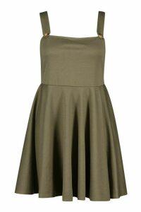 Womens Plus Button Detail Skater Pinafore Dress - green - 20, Green