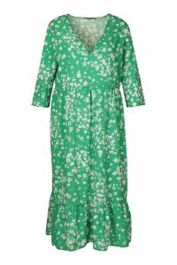 Womens Plus Floral V-Neck Smock Midi Dress - green - 20, Green