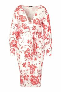 Womens Plus Floral Print Plunge Tie Waist Midi Dress - red - 18, Red