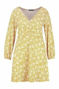 Womens Plus Floral Ruched Bust Skater Dress - yellow - 18, Yellow