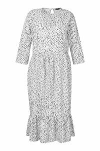 Womens Plus Polka Dot Ruffle Hem Midi Dress - white - 18, White