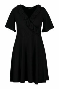 Womens Plus Rib Ruffle Wrap Skater Dress - black - 26, Black