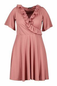 Womens Plus Rib Ruffle Wrap Skater Dress - pink - 24, Pink