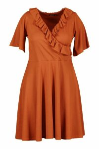 Womens Plus Rib Ruffle Wrap Skater Dress - orange - 24, Orange