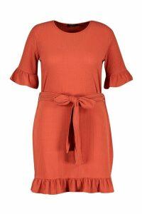 Womens Plus Soft Rib Ruffle Tie Waist Shift Dress - orange - 20, Orange