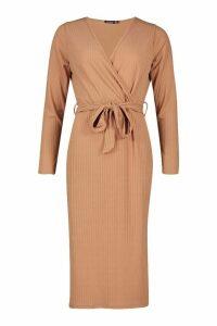 Womens Plus Soft Rib Wrap Belted Midi Dress - beige - 18, Beige