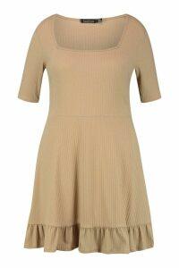 Womens Plus Square Neck Soft Rib Skater Dress - beige - 24, Beige