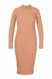 Womens Plus Soft Rib Roll Neck Midi Dress - beige - 20, Beige