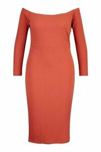 Womens Plus Soft Rib Bardot Long Sleeve Midi Dress - orange - 20, Orange
